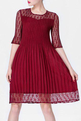 Sale Solid Color Folded Lace Spliced Dress