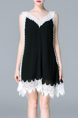 Sale Color Block Lace Spliced Dress