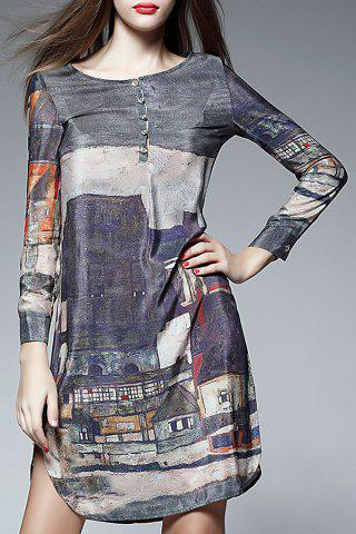 New Silk Long Sleeve Print Dress