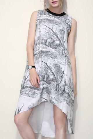 Store High Low Print A Line Dress