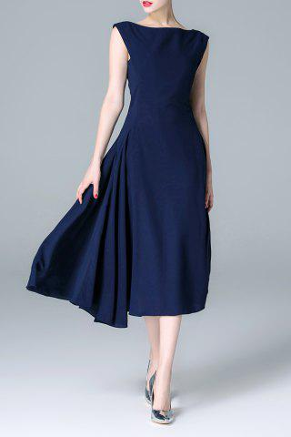 Chic Back Zippered Solid Color Dress