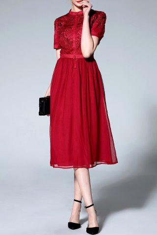 Best Stand Collar High Waisted Embroidery Dress