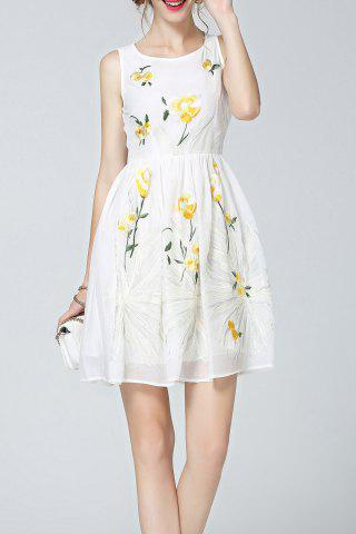 Affordable Flower Embroidered Sleevelesss Dress