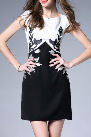 Affordable Leaf Embroidered Sheath Dress