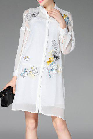 Outfits Stand Neck Long Sleeve Embroidery Shirt Dress