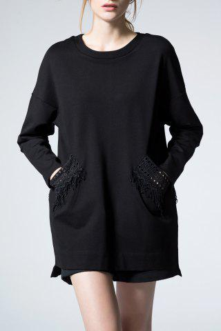 Fancy Lace Embellished Black Long Sleeve Tee