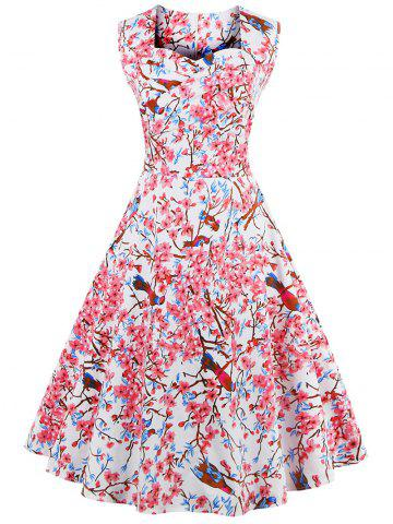 Sale Sweetheart Neck Flower and Bird Swing Retro Dress WHITE 4XL