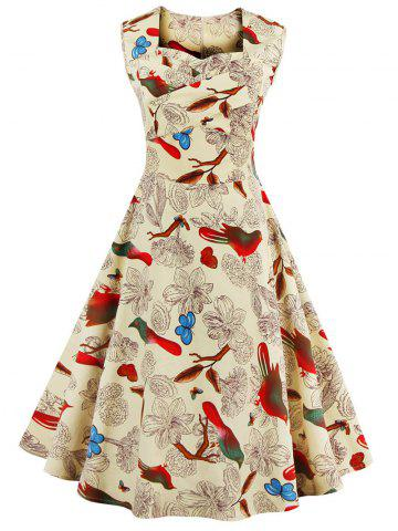Sweetheart Neck Flower and Bird Retro Dress - Apricot - S