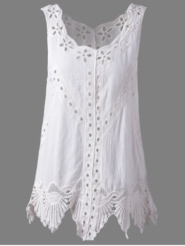 Sale Bohemian Scoop Neck Crochet Sleeveless Solid Color Blouse For Women WHITE ONE SIZE