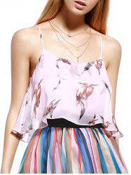 Cami Bird Print Layered Chiffon Top