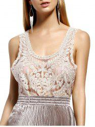 Stylish Scoop Neck Lace Silk Thread See-Through Sleeveless Blouse For Women