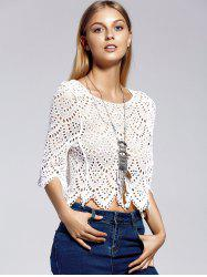 Stylish Scoop Neck 3/4 Sleeve Openwork Lace Crop Top For Women -