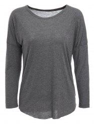 Casual Gray Long Sleeve Cotton Blend Pullover T-Shirt For Women