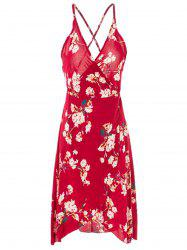 Sexy Spaghetti Strap Floral Print Cross Back Dress For Women -