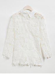 Women's Trendy Lace Splicing 3/4 Sleeve Blouse