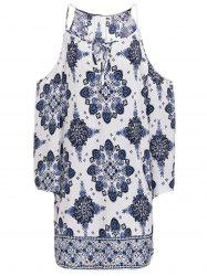 Chic V-Neck 3/4 Sleeve Cut Out Printed Dress For Women