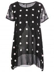 Women's Trendy Scoop Neck Short Sleeve Chiffon Polka Dot Blouse - BLACK XL