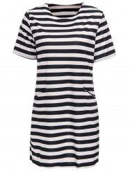 Striped Short Sleeve Casual Dress -