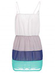 Sweet Spaghetti Strap Color Block Summer Dress For Women