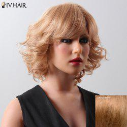 Fashion Women's Medium Curly Siv Hair Human Hair Wig -