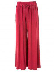 Stylish Waist Drawstring Solid Color Loose-Fitting Women's Pants -