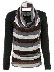 Turtleneck Stripe Kniting Vest With T-Shirt