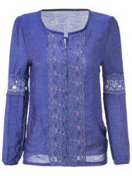 Long Sleeve V-Neck Lace Splicing Solid Color Women's Blouse