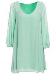 Slit Sleeve V Neck Chiffon High Low Dress - GREEN