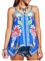 Charming Spaghetti Strap Printed Asymmetrical Women's Tank Top