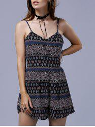 Stylish Spaghetti Straps Tribal Print Romper For Women