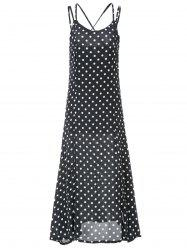 Sexy Spaghetti Strap Low Cut Sleeveless Polka Dot Backless Women's Dress -