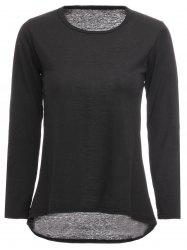 Simple Design Round Neck Solid Color Long Sleeve Women's T-Shirt - BLACK