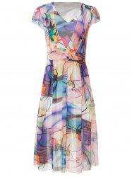 Short Sleeve V-Neck Chiffon Printed Dress - AS THE PICTURE