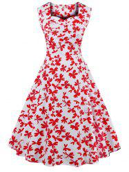 Sweetheart Neck Allover 50s Swing Dress - RED WITH WHITE