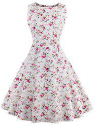 Sleeveless Tiny Flower 50s Swing Dress - WHITE