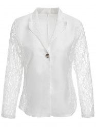 Stylish Lace Lapel Long Sleeve Solid Color Women's Blazer -