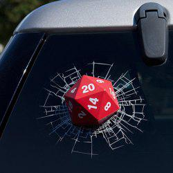 Creative Automotive Glass Broken Decoration 3D Dice Sticker - RED