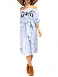 Attractive Off The Shoulder Striped Floral Embroidered Midi Dress For Women -