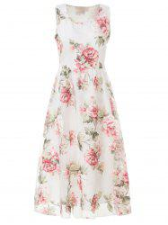 Ladylike Square Neck Sleeveless Embroidered Organza Women's Dress -