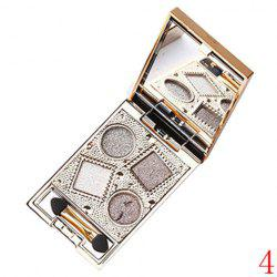 Stylish 4 Colours Nude Makeup Sparkly Diamond Eye Shadow Palette with Mirror and Brush - 04