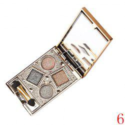 Stylish 4 Colours Nude Makeup Sparkly Diamond Eye Shadow Palette with Mirror and Brush -