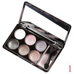 Stylish 6 Colours Earth Tone Sparkly Diamond Eye Shadow Palette with Mirror and Brush -