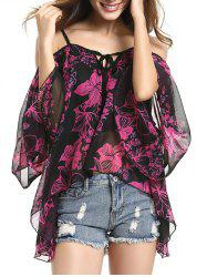 Spaghetti Strap Off Shoulder Bell Sleeve Floral Printed Blouse - BLACK