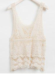 Solid Color Sleeveless Scoop Neck Hollow Out Design Women's Lace Tank Top -