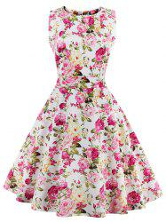 Flare Knee Length Floral 50s Swing Dress