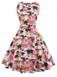 Flare Knee Length Floral 50s Swing Dress - RED 2XL