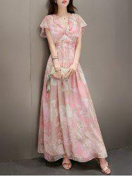Bohemian Bowknot Embellished Buttoned Women's Chifffon Maxi Dress