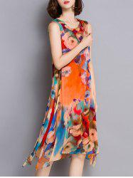 Floral Print Side Slit Asymmetrical Dress - COLORMIX