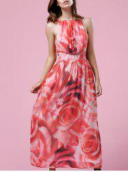Trendy Jewel Neck Sleeveless Flower Print Dress For Women