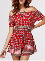 Chic Totem Print Off The Shoulder Short Sleeve Romper For Women -